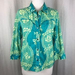Anthropologie Odille Green Paisley Floral Top 10